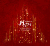 Abstract Christmas tree made from lights and gold line on red background. Vector. Stock Images
