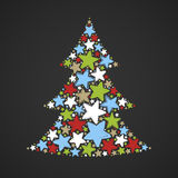 Abstract christmas tree made of multicolored stars on dark background Stock Photos