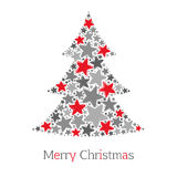 Abstract christmas tree made of red and grey stars on white background Stock Image