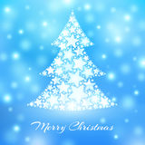 Abstract christmas tree made of white stars on blue background Royalty Free Stock Image