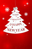 Abstract christmas tree with Merry Christmas wish. Abstract christmas tree with Merry Christmas and Happy New Year wish on red background with snowflakes Royalty Free Stock Photos