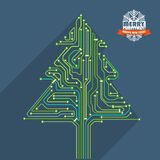 Abstract christmas tree metro scheme illustration. Greeting card Royalty Free Stock Photography