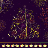 Abstract Christmas tree. With ornaments and decorative apples on a dark blue background Stock Photo