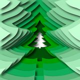 Abstract christmas tree, paper effect and shadow, new year and. Vector illustration, abstract christmas tree, paper effect and shadow, new year and christmas Stock Photography