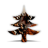 Abstract Christmas tree with pine cones Royalty Free Stock Photo
