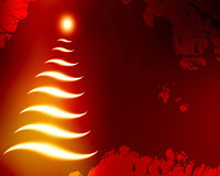 Abstract christmas tree. On a red background Stock Photos
