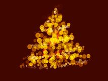 Abstract Christmas tree on red background, illustration. Golden bubbles and sparkles in shape of christmas tree. Festive greeting. Card, space for text. Merry stock illustration