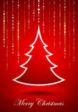 Abstract Christmas tree on red background Stock Image