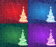 Abstract Christmas Tree. Red, blue, green and lilac backgrounds with abstract Christmas tree Royalty Free Stock Images