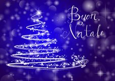 Abstract Christmas tree on shiny blue background with the writin. G `Merry Chistmas` in Italian `Buon Natale`. Vector one Royalty Free Stock Images