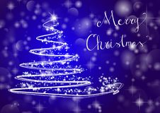 Christmas tree on shiny blue background with the writing. Abstract Christmas tree on shiny blue background with the writing `Merry Christmas`. Vector one Royalty Free Stock Photo
