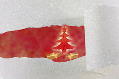 Abstract of christmas tree and snow paper Royalty Free Stock Photos