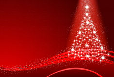 Abstract Christmas tree with snow on the red background Royalty Free Stock Images