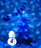 Abstract Christmas Tree Snowman on Blue Background. With Snowflakes Illustration Royalty Free Stock Images