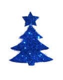 Abstract Christmas tree with the star of blue glitter, festive design element, icon Stock Photography