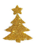 Abstract Christmas tree with the star of golden glitter, festive design element, icon Royalty Free Stock Photos