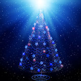 Abstract christmas tree on starry sky Stock Image