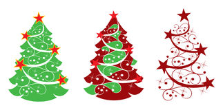 Abstract christmas tree with stars Royalty Free Stock Images
