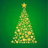 Abstract Christmas tree from the stars. Illustration on green background Stock Photo