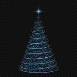 Christmas tree Vector illustration. Abstract Christmas tree on transparent background. symbol of Happy New Year Stock Image
