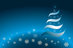 Abstract Christmas tree. In various blue and golden colors - vector illustration royalty free illustration
