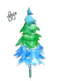 Abstract Christmas tree by watercolor painting on white background with Joy hand writing word. Royalty Free Stock Photo