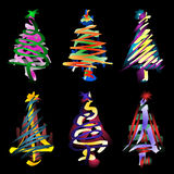 Abstract Christmas Trees. Illustration of 6 abstract Christmas trees isolated on black background Royalty Free Stock Image