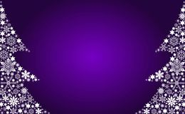 Abstract Christmas trees. An illustrated, partial view of two abstract Christmas trees created by various shapes and sizes of snowflakes.  Purplish background Royalty Free Stock Image