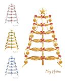 Abstract Christmas trees, cdr vector. Set of four abstract Christmas trees with balls abd ribbons on white background, vector format stock illustration