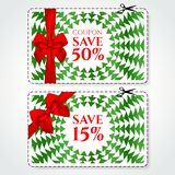 Discount Coupon, Voucher vector. Background template with red holiday bow. Abstract Christmas trees green pattern, triangle texture. Save money tag 15 off, 50 royalty free illustration
