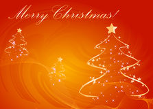 Abstract christmas trees orange background royalty free illustration