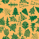 Abstract christmas trees pattern. Christmas trees seamless pattern over retro orange, grungy abstact composition Stock Image