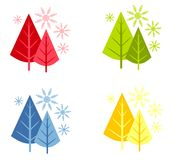 Abstract Christmas Trees Snow Stock Photo