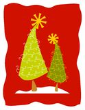 Abstract Christmas Trees in Snow. A clip art illustration featuring a pair of abstract looking Christmas trees sitting in the snow against a red background Stock Images