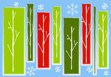 Abstract Christmas Trees Snow Background. A background illustration featuring abstract Christmas trees as panels of green and red colors set against blue Royalty Free Stock Photography