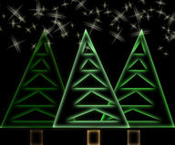Abstract christmas trees and stars. On black background Stock Image