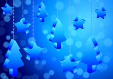 Abstract christmas trees and stars with Bokeh background. Vector art illustration Royalty Free Stock Photography