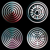 Abstract chrome circles. Abstract blurry and bright chrome circle collection royalty free stock photos