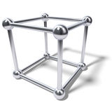 Abstract chrome cube atom cage Royalty Free Stock Photos