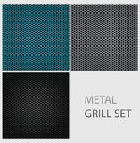 Abstract chrome iron metal texture set Stock Photography