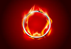 Abstract chrome metal fire ring hot red background Stock Photography