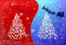 Abstract chrstmas tree with santa clause Royalty Free Stock Images