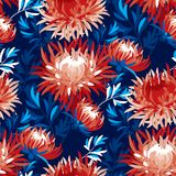 Abstract chrysanthemum floral seamless pattern. For background, wrapping paper, fabric, surface design. Asian flower red and blue reparable motif stock illustration