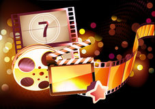 Abstract cinema background. Vector illustration of orange abstract cinema background with clapperboard and a film reel royalty free illustration