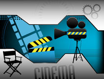 Abstract cinema background. Abstract colorful illustration with clapboard, movie director chair, movie projector and various film related elements. Cinema Stock Image