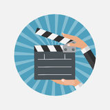 Abstract Cinema Clapper Flat Symbol Icon. Vector Illustration EP Stock Photography