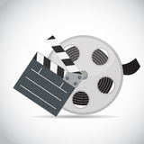 Abstract Cinema Clapper and Reel Flat Symbol Icon. Vector Illustration Stock Photos