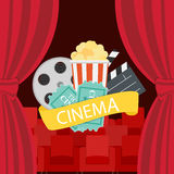 Abstract Cinema Flat Background with Reel, Old Style Ticket, Big Stock Image