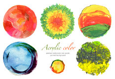 Abstract circle acrylic and watercolor design elements. Royalty Free Stock Image