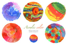 Abstract circle acrylic and watercolor paint Royalty Free Stock Photography